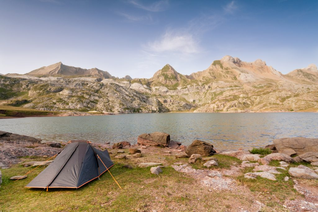 Camping Tent by Estanes Lake during sunrise