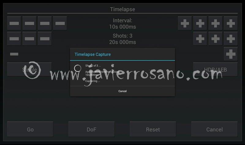 DSLR Controller. Disparando en modo Time-lapse