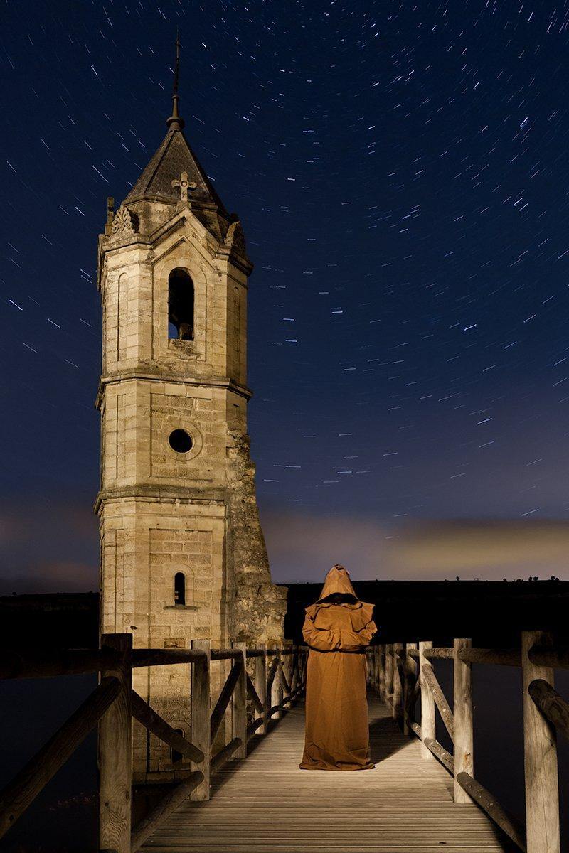 El vigilante de la torre. Fotografía nocturna
