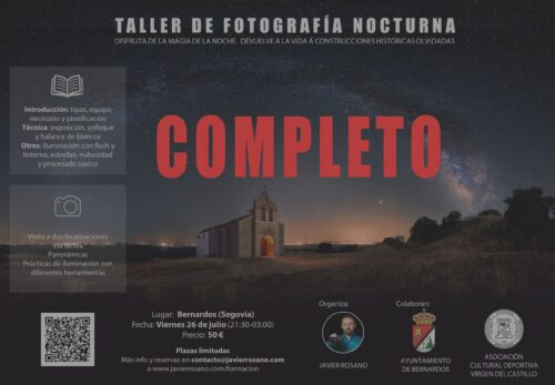 Taller de fotografía nocturna en Bernardos, Segovia