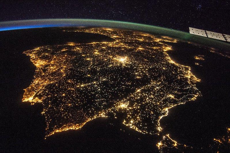 Contaminación lumínica en la Península Ibérica