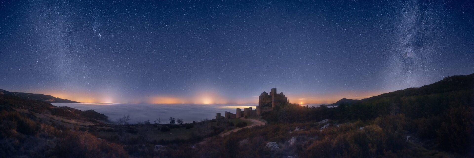 Fotografía nocturna del castillo de Loarre